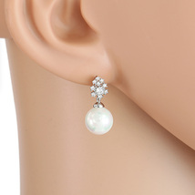UE- Chic Silver Tone Faux Pearl Designer Earrings With Swarovski Style Crystals - $15.99