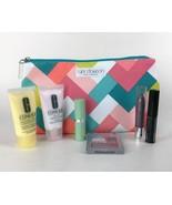 New Clinique Tyler Dawson Makeup Cosmetics Bag 7pc Set Travel Pink Teal ... - $29.65