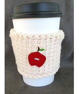 White To Go Cup Sleeve Cozy with Red Ceramic Apple Button - $5.95