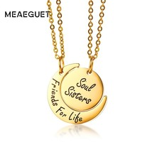 Meaeguet Sister Necklace Friendship Jewelry 2 Pcs Moon Sun Shape Pendant Stainle - $13.54