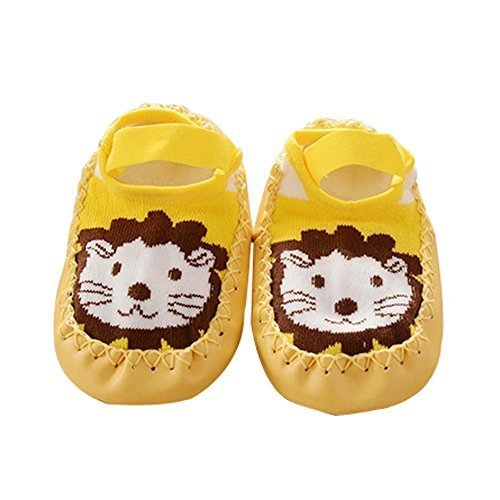 Pure Yellow Color with Lion Pattern Babies Socks for Newborn Baby