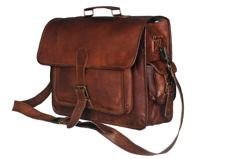 Brown New Men's Leather messenger shoulder Bag Vintage Briefcase Bag Laptop Bag