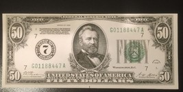Reproduction $50 Bill Fifty Federal Reserve Note Chicago 1928 Ulysses Grant Copy - $2.96