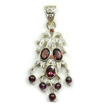 Gorgeous Hessonite Red Garnet Oval  Shape Stone 925 Sterling Silver Pendant - $43.86