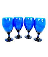 Set of 4 Libbey Premiere Iced Tea Goblet Glasses Footed Cobalt Blue 16 Oz  - $47.51