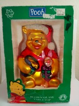 "Disney Santa Winnie The Pooh And Piglet 11"" Blown Glass Tabletop Decoration - $50.00"