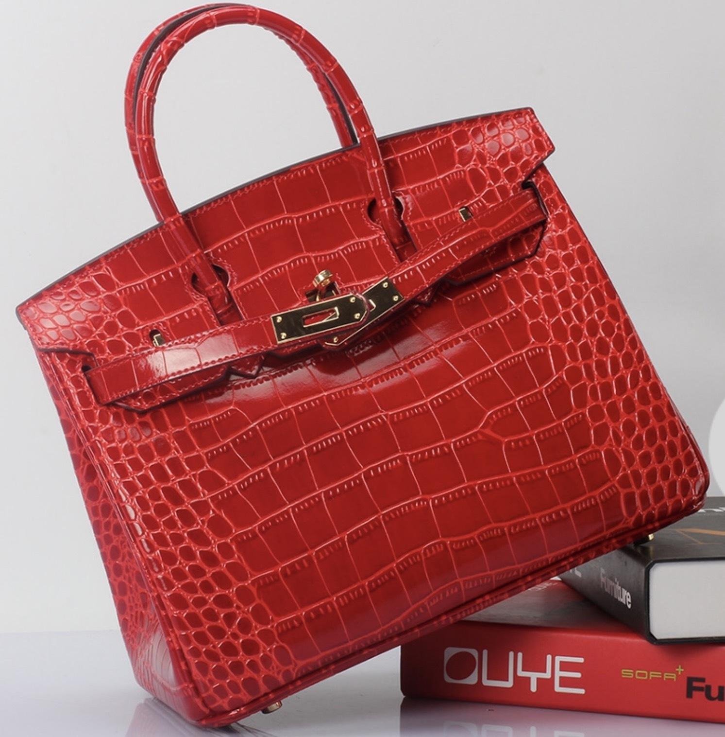 35cm Crocodile Pattern Italian Leather Birkin Style Bag Satchel Handbag 1632L