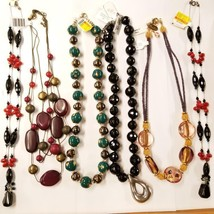 Bulk Lot of 6 Beaded Necklaces Wholesale Onyx Coral Dichroic Italian Gla... - $163.63