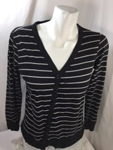 Forever 21 Women Blouse Slim Fit Thin Fabric V-neck Black White Striped Size M - $16.82