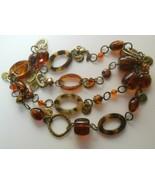 Vintage Designer Long Gold Tone Rootbeer Chain Link Necklace  - $24.74