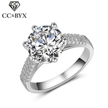 Anillos para mujer S925 plata 2ct anillo de bodas grande redondo Cubic Z... - $12.00