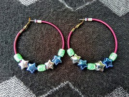 Large Pink Hoop Earrings with Star Beads and Tribal Beads - $16.95
