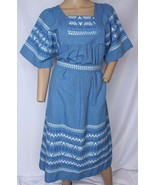 Vtg Blue Embroidered Guatemalan Ethnic Patio Day Muu Muu Festival Boho Dress S M - $161.49