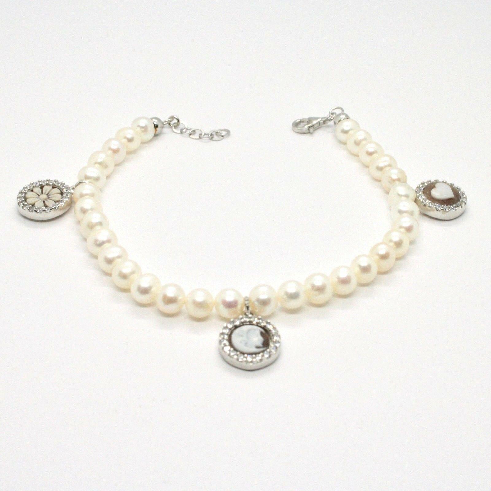Bracelet en Argent 925 avec Perles D'Eau Douce Camée Camée Zirconia Cubique