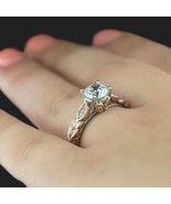 Two Tone Vintage Accented CZ Stone with floral inspired Prong head filig... - $86.00