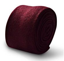 Frederick Thomas Designer Wool Mens Tie - Maroon Burgundy Dark Red Plain... - $15.95