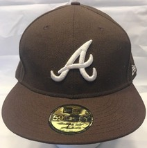 New Era 59Fifty Brown Atlanta Braves Baseball Cap 7 5/8 60.6cm HTL - $14.99