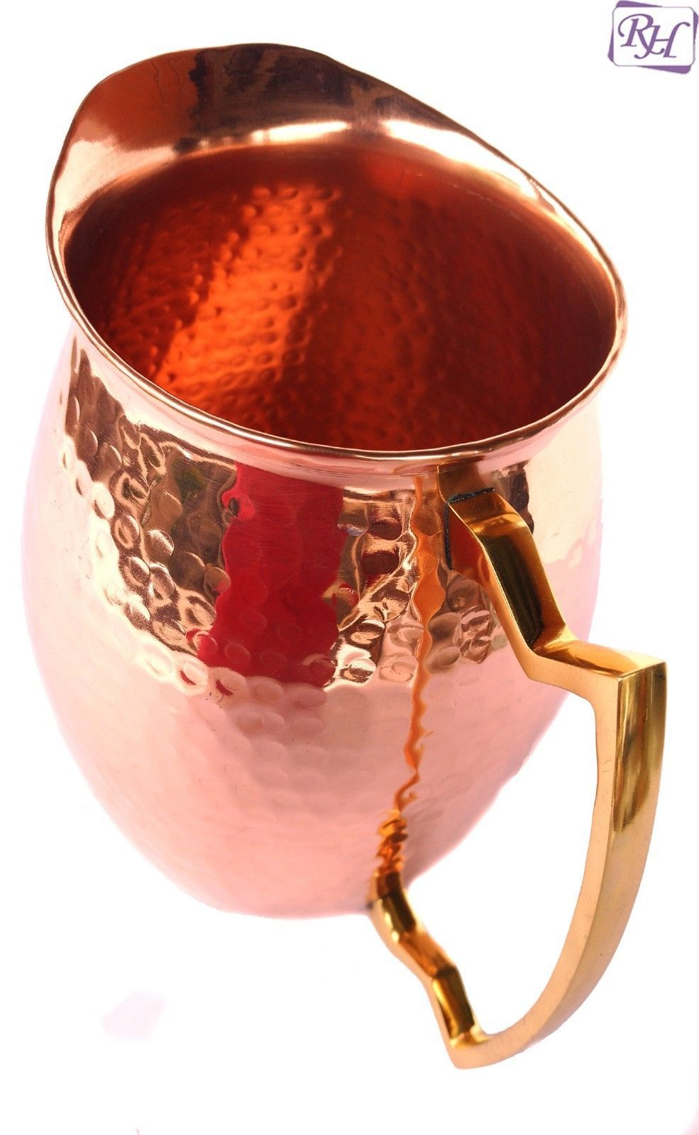 Pure copper Hammered Jug NEW Heavy Gauge Moscow Mule Water Pitcher Drinkware