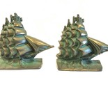 "Vintage Cast Iron Sailing Ship Book Ends Green Patina 6"" x 6"" Nautical"