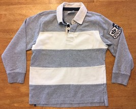 Crazy 8 Boy's Gray & White Striped Long Sleeve Polo Shirt - Size Small - $9.99