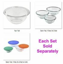 Glass Mixing Bowl 1pc, 3pcs, or 6pcs Nests, Clear, Classic Sizes Dishwasher Safe - $57.95+