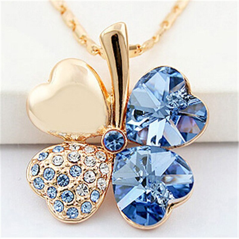 Lover necklaces pendant heart crystal from swarovski elements gold color vintage fashion jewelry