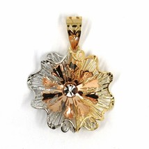 18K YELLOW WHITE ROSE GOLD FLOWER ONDULATE FINELY WORKED RAYS PETALS 2cm PENDANT image 1