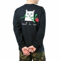 Cat Must be Nice Romantic Nerm Long Sleeve T-Shirt Black - $19.99