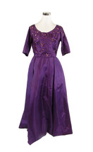 Purple silk 1/2 sleeve sequin trim beaded ball gown vintage dress S - $299.99