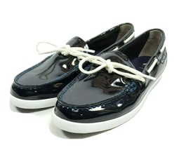 Cole Haan Boat Shoes Women's Sz 10 B Navy Blue Patent Leather (sb14ep) - $32.99