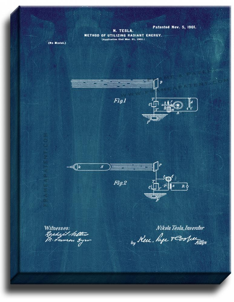 Primary image for Tesla Method Of Utilizing Radiant Energy Patent Print Midnight Blue on Canvas