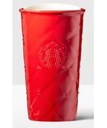 Starbucks Acolchado Doble Pared Cerámica Vaso Taza Rubí Rojo Swarovski C... - $39.82