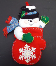 "Custom Christmas Stocking FINISHED BUCILLA ""Snowman Mittens"" Felt Stocking - Kit - $122.97"
