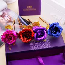 24K Rose Gold Dipped Trim Long Stem Flower Valentine Mother's Day Decor ... - $11.40