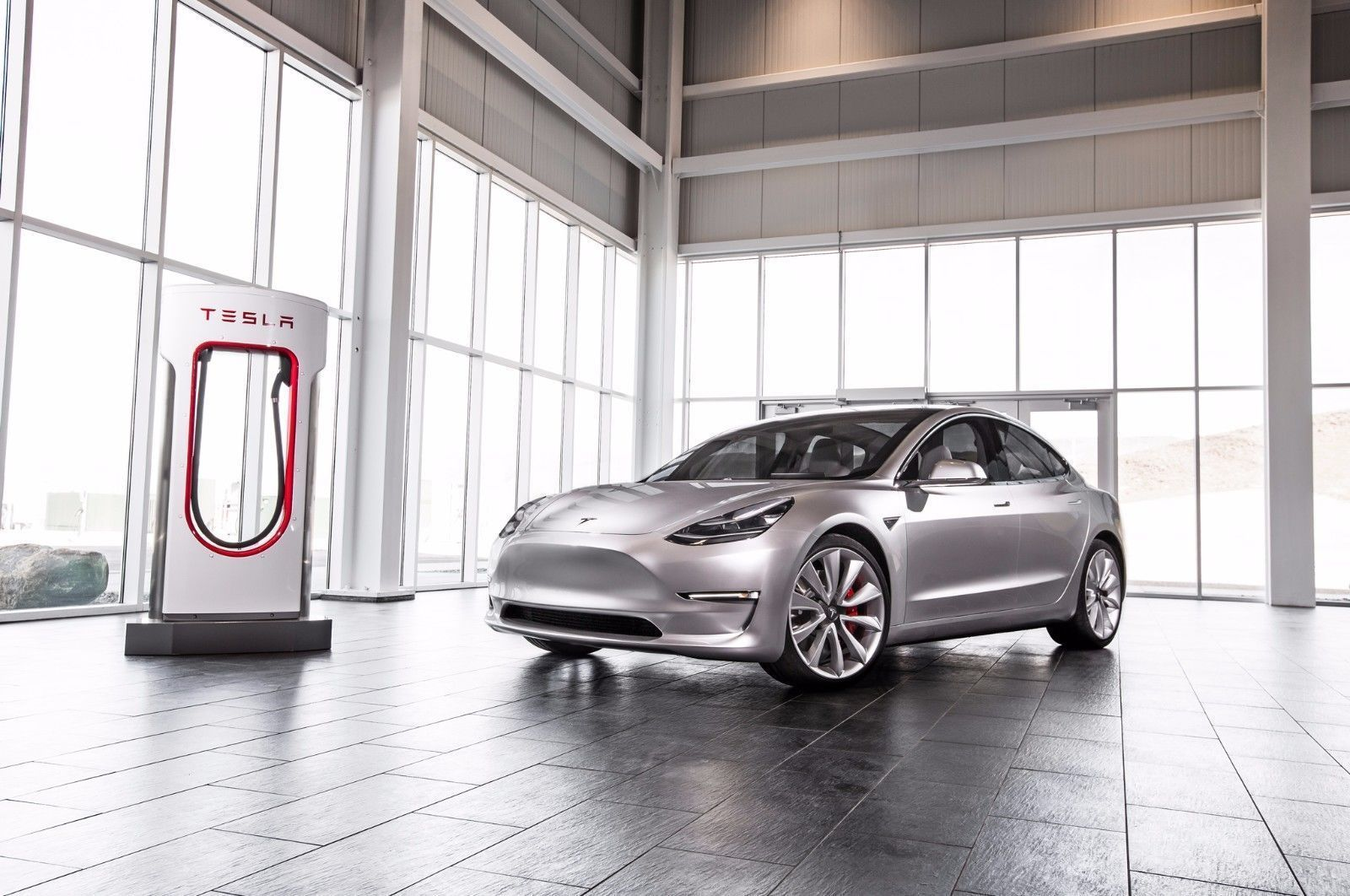 2017 TESLA MODEL 3 AND CHARGING STATION POSTER | 24 x 36 ...