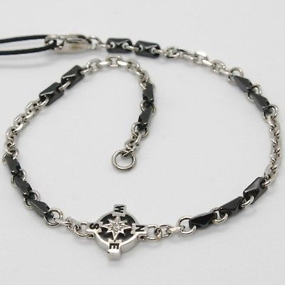 925 STERLING SILVER WIND ROSE COMPASS BRACELET BLACK CERAMIC, ZANCAN, ITALY MADE