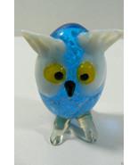 "Art Glass Hand Made 2"" Owl Figurine Blue White Cute Free shipping - $15.80"