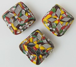 3 Square Button Covers Colorful Mosaics with Mirrors Beads Folk Art Style - $6.42