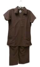 Jockey Scrub Set Collar Top Elastic Waist S Uniform Scrub Pants Bottom Brown New - $20.34