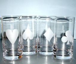 Kate Spade Gin Rummy Highball Set/4 Glasses Crystal Frosted Card Suit Lenox New - $145.90