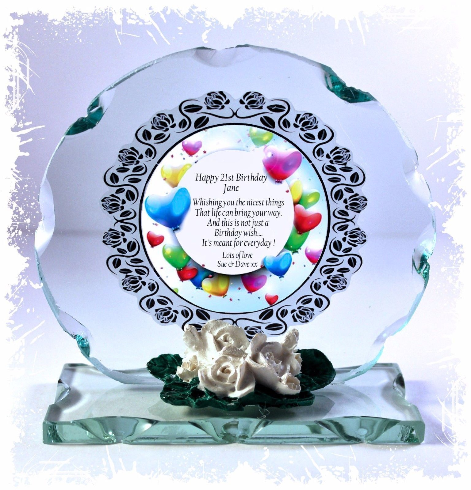Balloons  21st Birthday Gift Cut Glass Round Plaque Ltd Edition  #1