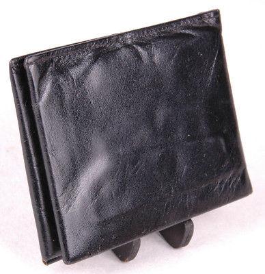 "Vtg AMITY Leather Wallet/Billfold-Black-Bifold-4.5 x 3.5"""