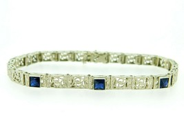 Art Deco 10k White Gold Synthetic Sapphire Filigree Bracelet (#J5063) - $450.00