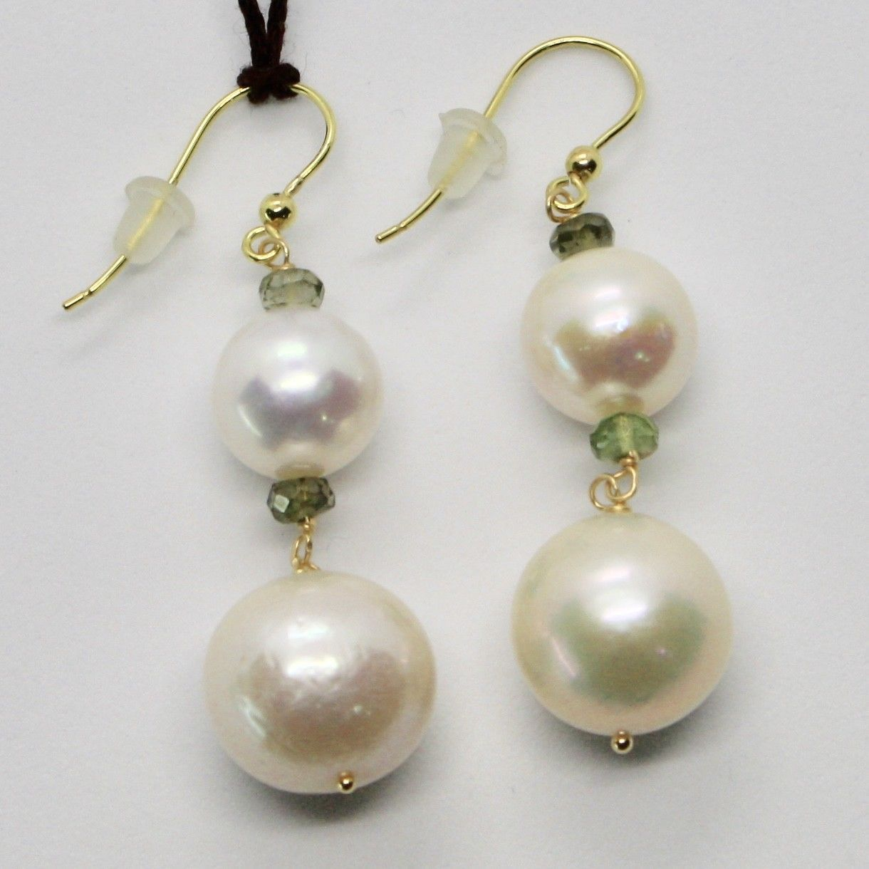 SOLID 18K YELLOW GOLD EARRINGS WITH WHITE PEARL AND TOURMALINE MADE IN ITALY