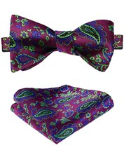Men's Paisley Jacquard Woven Self Bow Tie Set One Size Green / Pink - $27.00