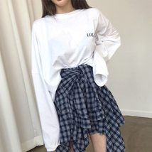 Asymmetrical Plaid Skirt Woman 2018 Spring New Fashion Casual Skirts Womens Loli image 2