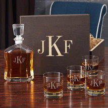 Classic Monogram Decanter Set with Wooden Gift Box - $149.95