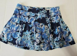 Justice Girls Skirt Skort Size 10 Blue silver Floral Tiered - $10.00