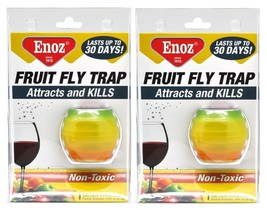 2x Enoz FRUIT FLY TRAP Attracts & Kills Non Toxic Lure Each Lasts Up To ... - $9.99