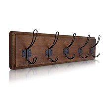 "HBCY Creations Rustic Coat Rack - Wall Mounted Wooden 24"" Entryway Coat Hooks -"